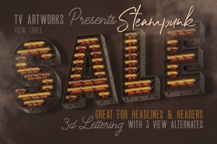 Thumbnail for Steampunk Neon 3D Lettering View 3