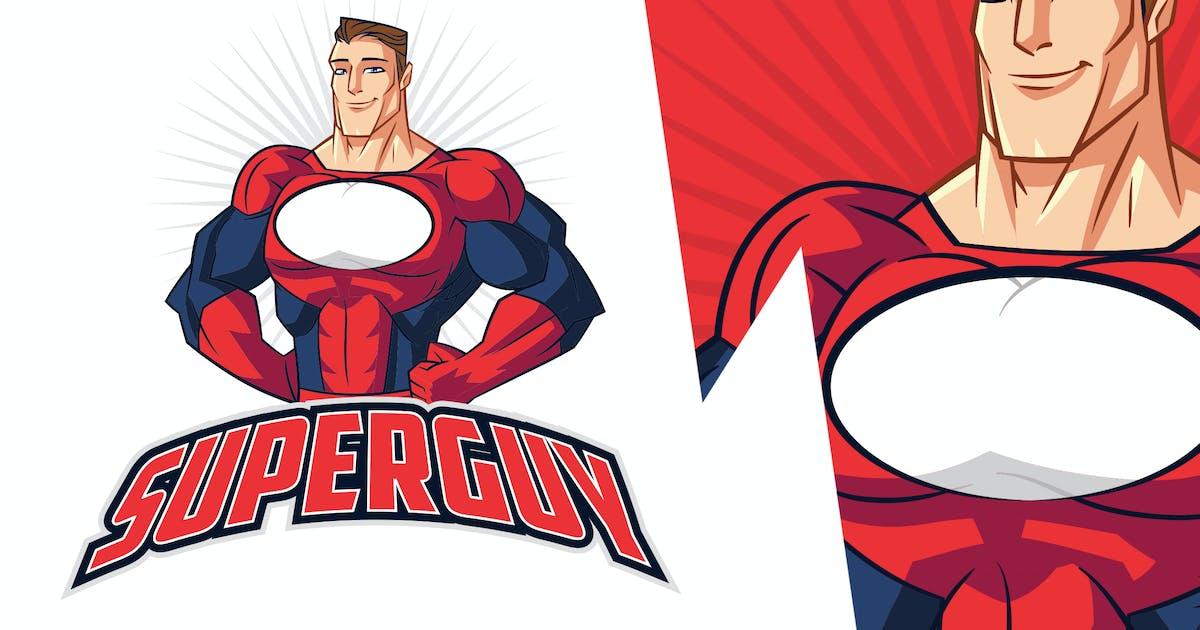 Download Cartoon Muscular Superhero Mascot Logo by Suhandi
