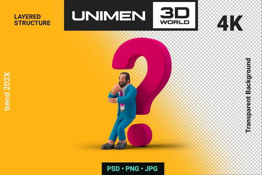 Businessman 3D Thinking near Question Mark