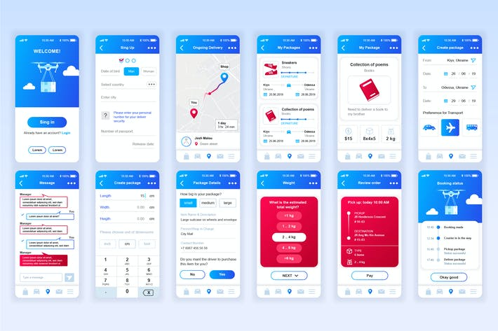 Thumbnail for Delivery Mobile App UX and UI Kit