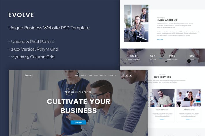 Thumbnail for Evolve - Unique Business Website PSD Theme
