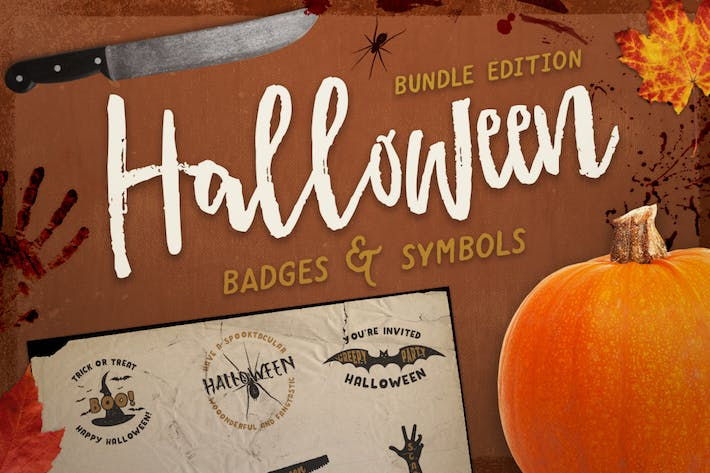 Thumbnail for Halloween Badges / Retro Logo Set. Bundle Edition