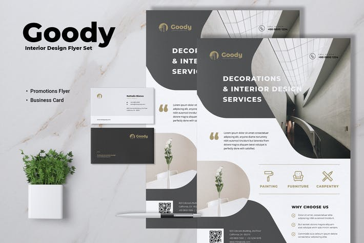 Thumbnail for GOODY Interior Design Flyer & Business Card