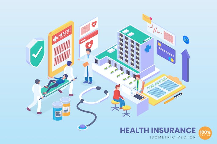 Thumbnail for Isometric Health Insurance Vector Concept