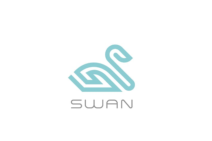 Thumbnail for Swan bird Logo linear style