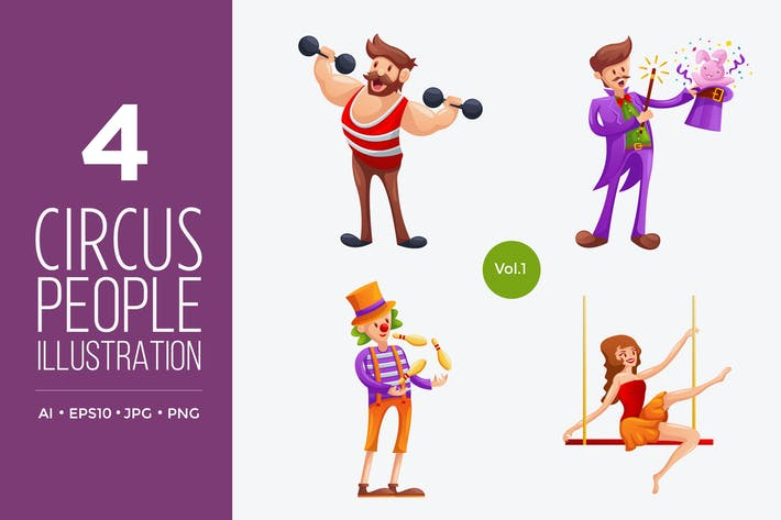 Thumbnail for Circus People Vector Character Set 1