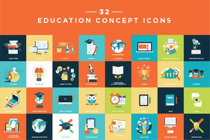 Thumbnail for Set of Flat Design Education Icons