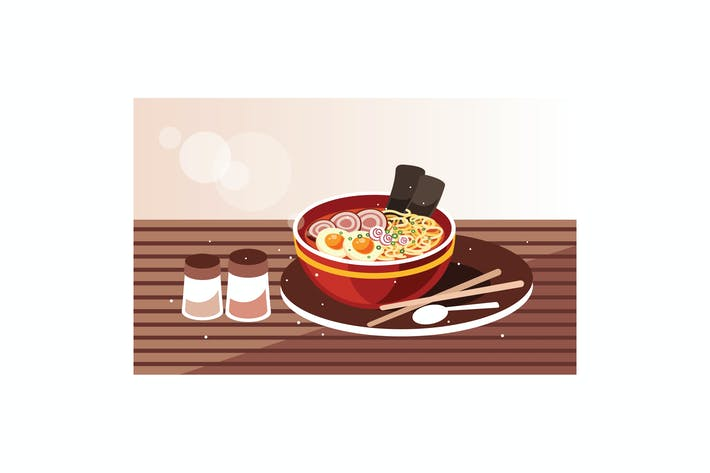 Thumbnail for Japanese ramen soup with chicken, egg and chives