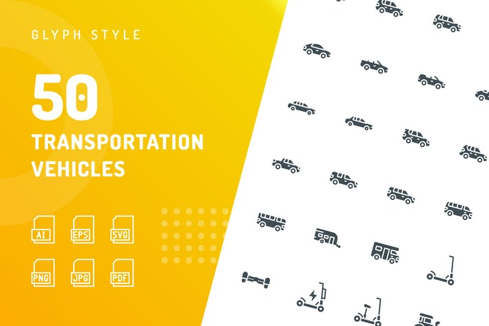 Thumbnail for Transportation Vehicles Glyph Icons