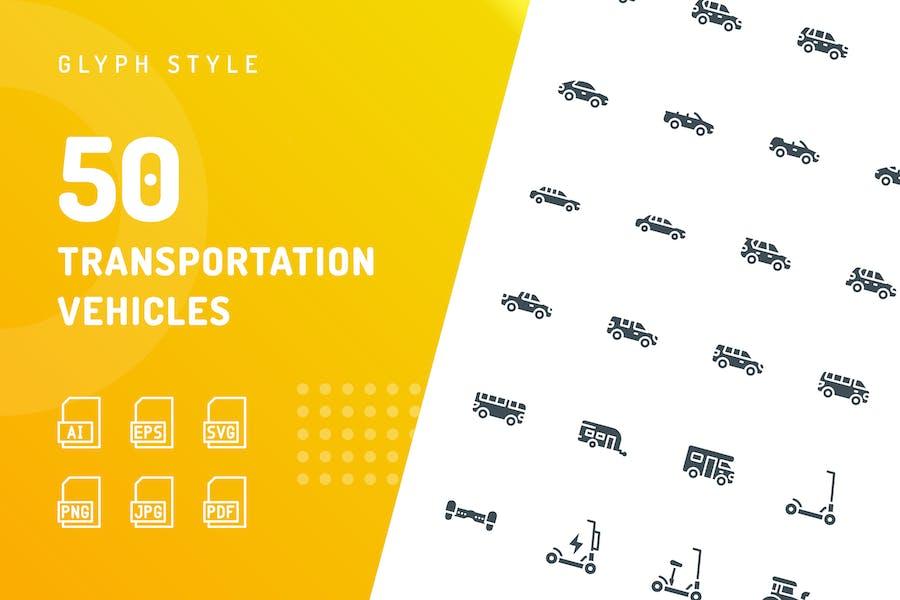 Transportation Vehicles Glyph Icons