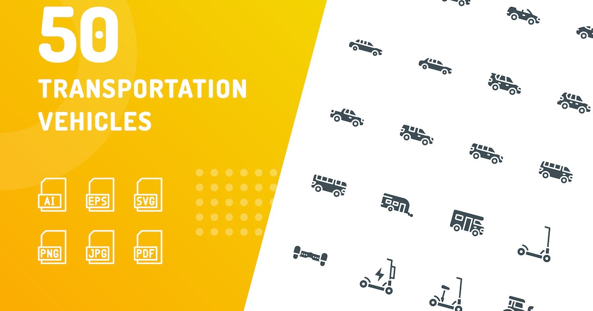 Download Transportation Vehicles Glyph Icons by kerismaker