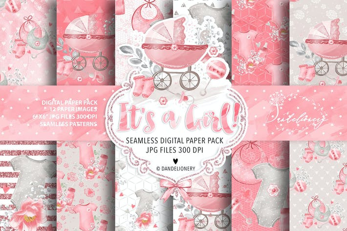Cover Image For Baby Girl digital paper pack