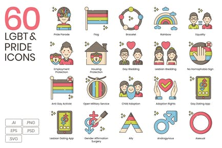 60 LGBT & Pride Line Icons