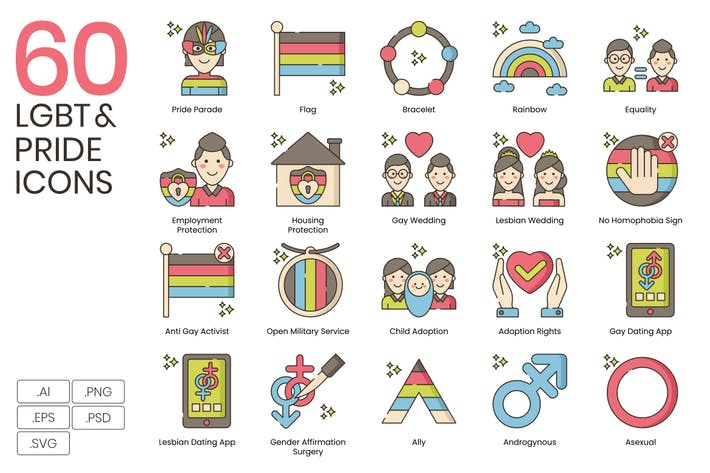 Thumbnail for 60 LGBT & Pride Line Icons