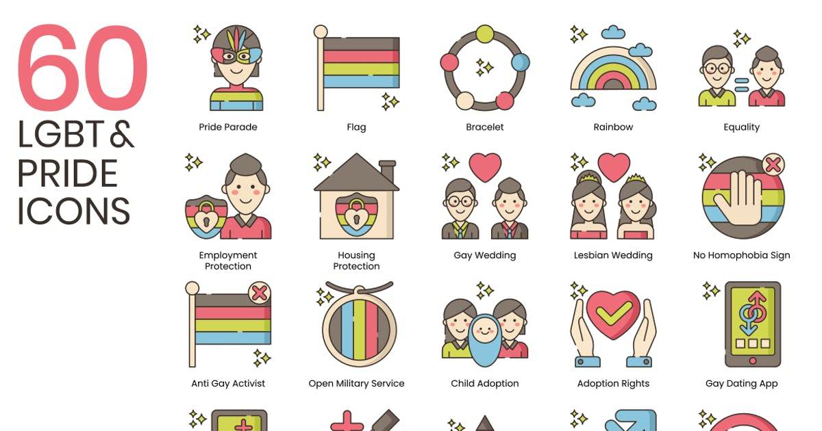 Download 60 LGBT & Pride Line Icons by Krafted