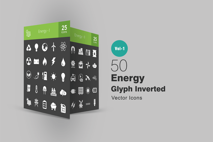 50 Energy Glyph Inverted Icons