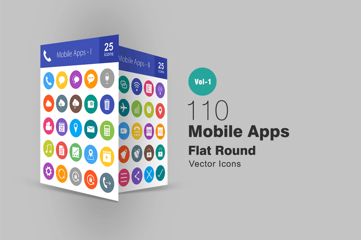 Thumbnail for 110 Mobile Apps Flat Round Icons