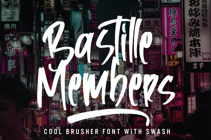 Bastille Members - Cool Brusher Font With Swash