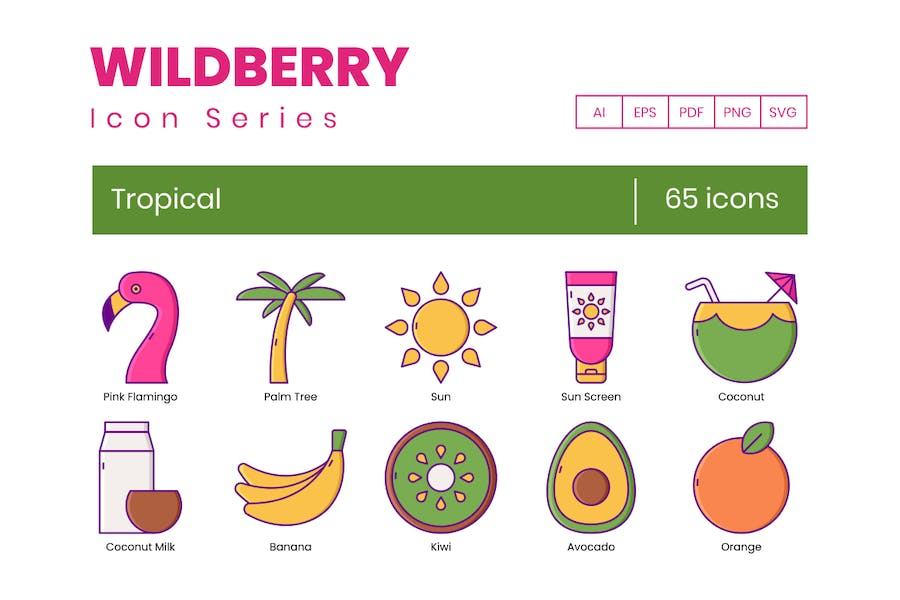 65 Tropical  Icons - Wildberry Series