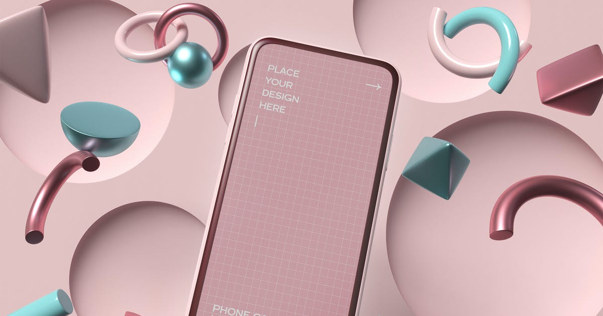 Download Smartphone With Geometric Shapes Mockup by megostudio