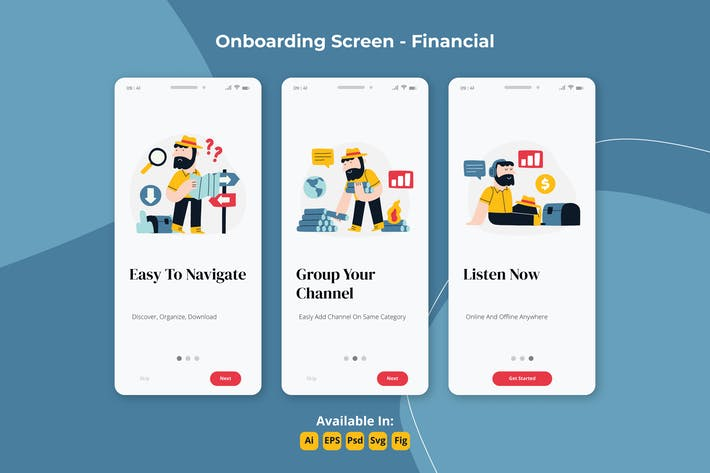 Thumbnail for Finanz-Podcast-Apps Onboarding-Bildschirme