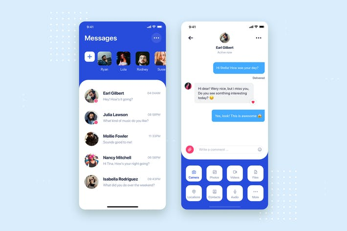 Thumbnail for Messages Chatting Mobile App UI Kit Template