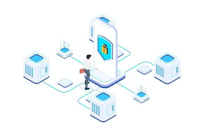 Thumbnail for Network Security on Blockchain Isometric 4 - T2