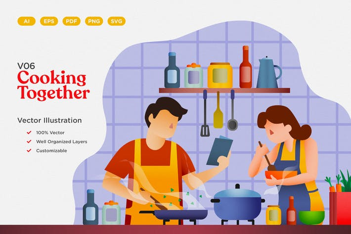 Thumbnail for Cooking Together Vector Illustration
