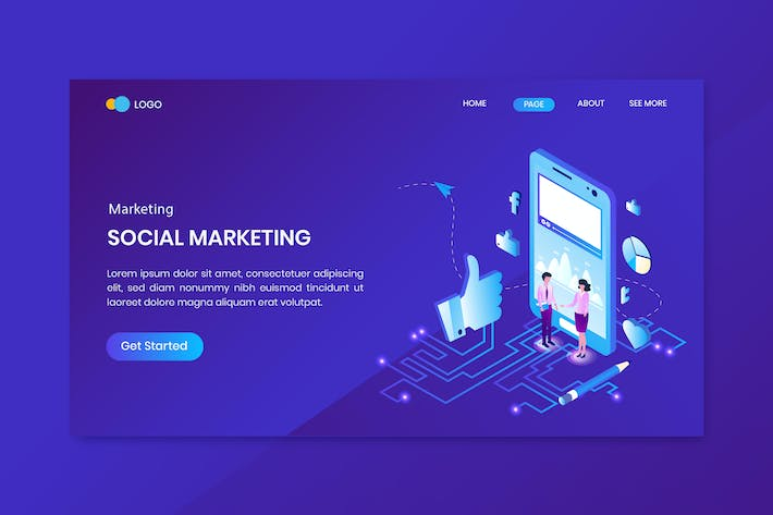 Conversion Marketing Isometric Concept Landing