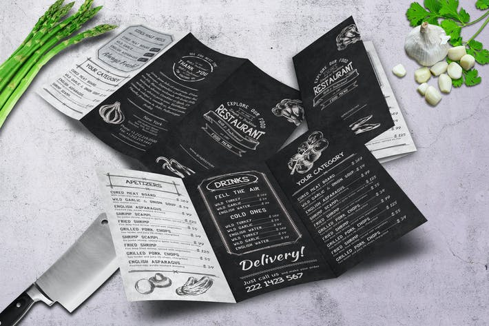 Thumbnail for Sketch Trifold Food Menu A4 and US Letter