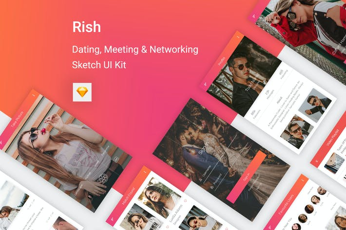 Thumbnail for Rish- Dating, Meeting & Networking  Sketch UI Kit