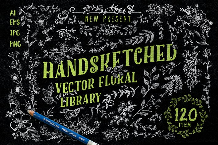 Thumbnail for Handsketched Vector Floral Library