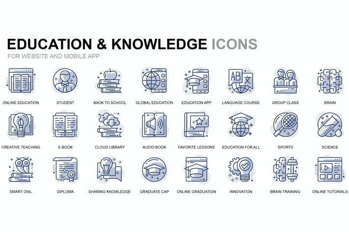 Thumbnail for Education and Knowledge Thin Line Icons