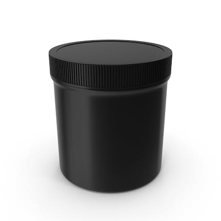 Black Plastic Jar Wide Mouth Straight Sided 20oz Closed
