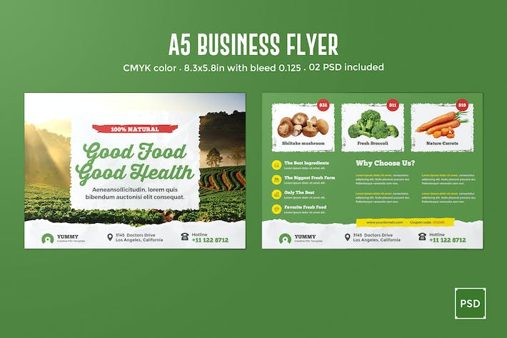 Thumbnail for Organic Market, Fresh Food A5 Business Flyer