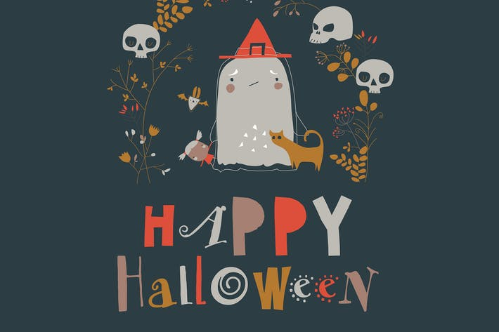 Thumbnail for Cartoon niedlichen kleinen Halloween-Geist in Kranz