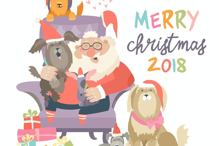 Cover Image For Santa Claus sitting in armchair with dogs. Vector