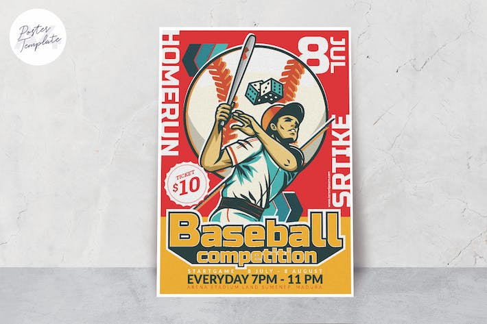Baseball Competition Poster Template