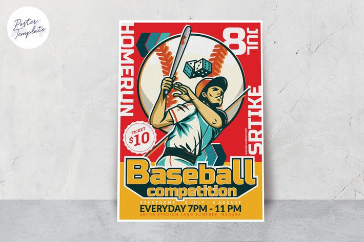 Thumbnail for Baseball Competition Poster Template