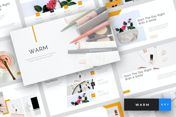 Thumbnail for Warm - Beauty & Cosmetics Keynote Template