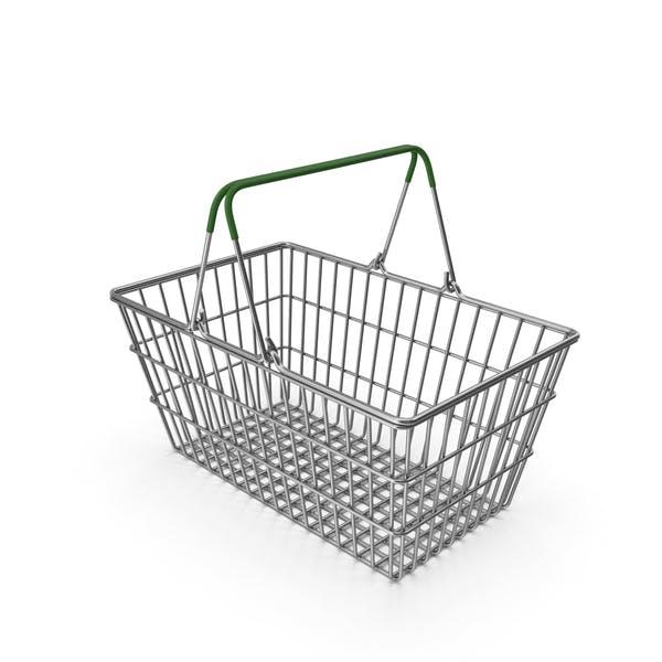 Supermarket Basket with Green Plastic