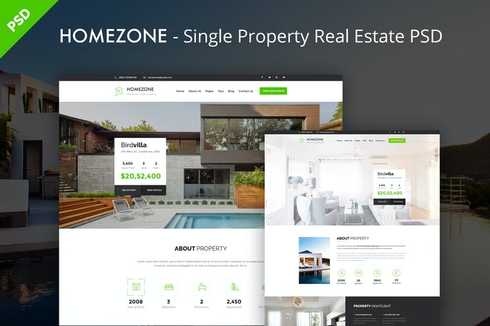 HOMEZONE - Single Property Real Estate PSD Templat