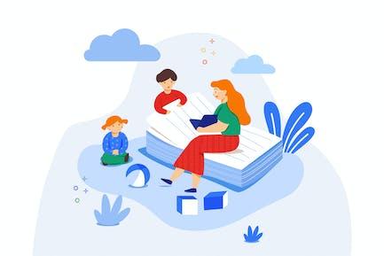 Leyendo una historia a los niños