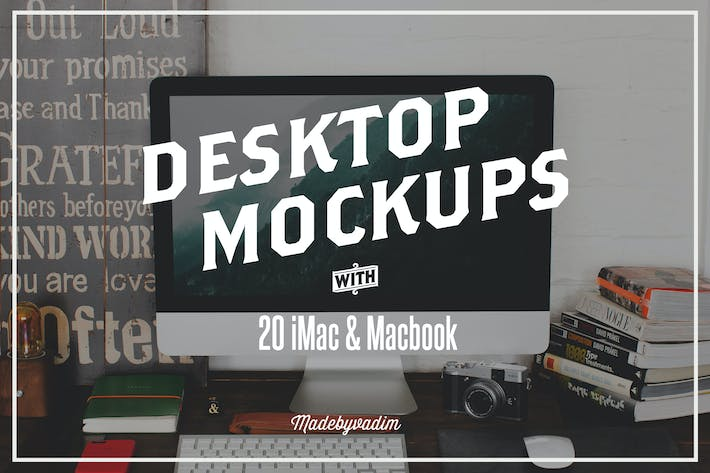 Thumbnail for 20 iMac & Macbook screen mockups