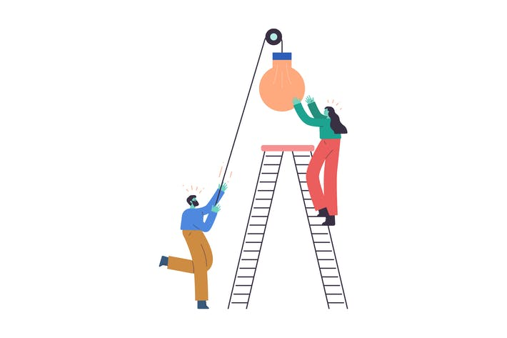 Thumbnail for Working Together Flat Illustration