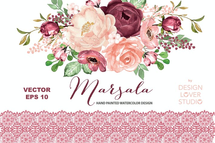 Thumbnail for VECTOR Marsala watercolor design