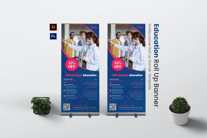 Education Admission Roll Up Banner