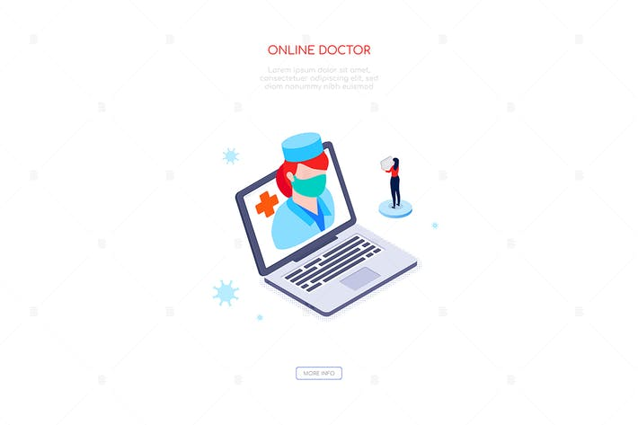 Thumbnail for Online doctor - colorful isometric web banner
