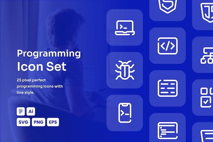 Programming Dashed Line Icon Set