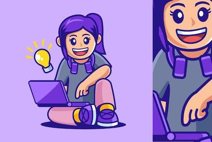 Adolescente Sentado con Portátil